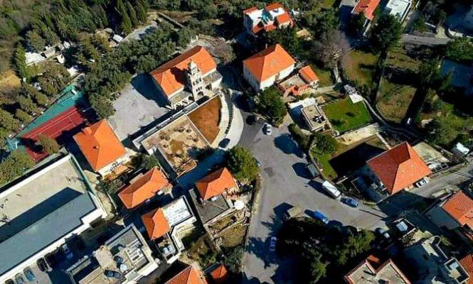 Church area drone view